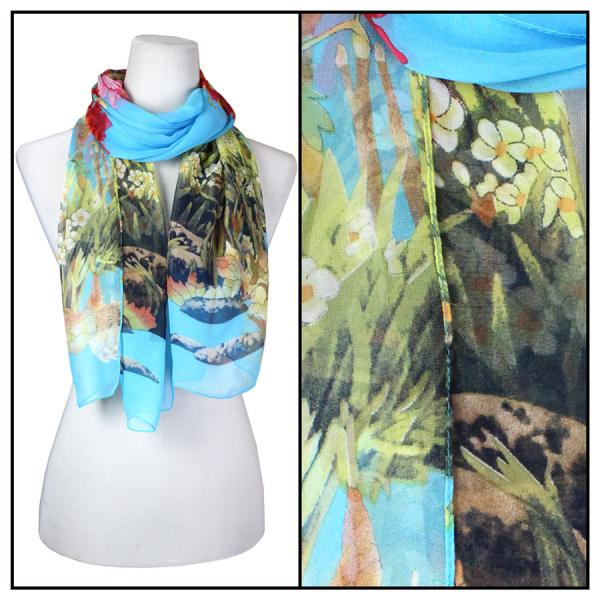 Silky Dress Scarves Floral Border - Turquoise MB -