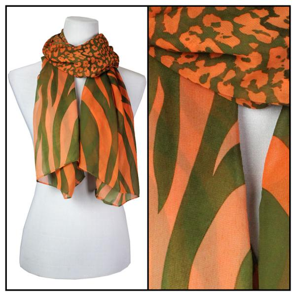 Silky Dress Scarves Zebra-Cheetah - Olive-Orange -