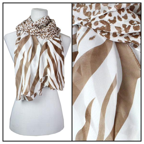 Silky Dress Scarves Zebra-Cheetah - Brown-White -