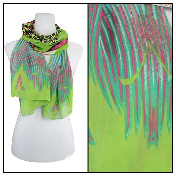 Silky Dress Scarves Big Butterfly - Green -