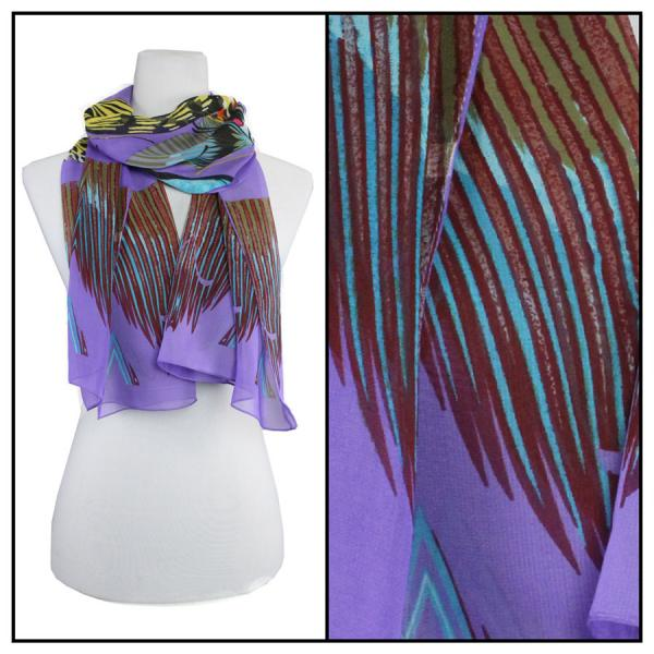 Silky Dress Scarves Big Butterfly - Purple -
