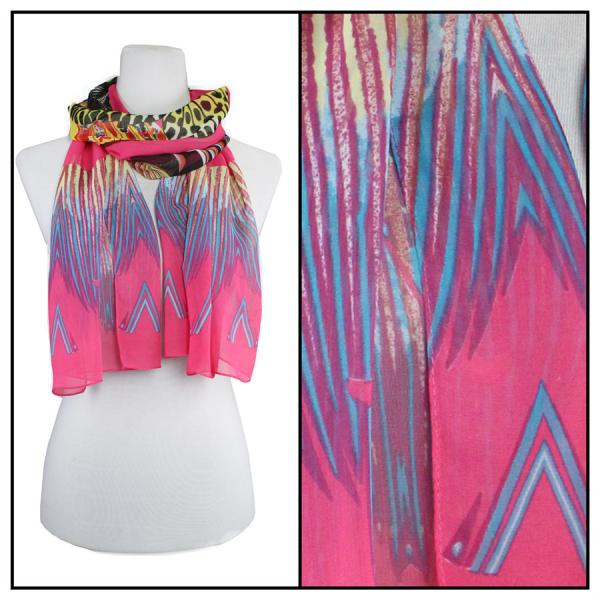 Silky Dress Scarves Big Butterfly - Fuchsia -