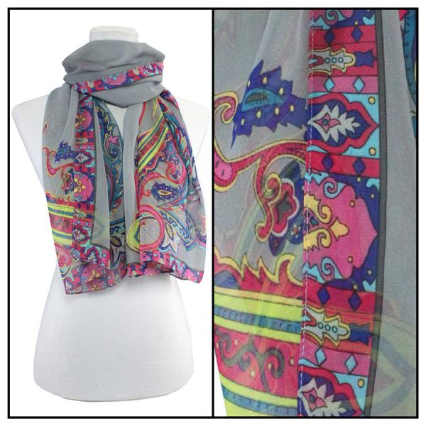 Silky Dress Scarves Paisley Serpentine - Grey (MB) -