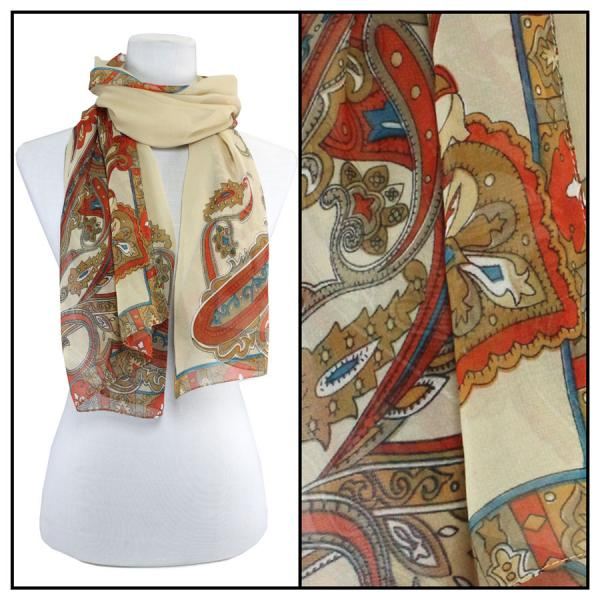 Silky Dress Scarves Paisley Serpentine - Beige -