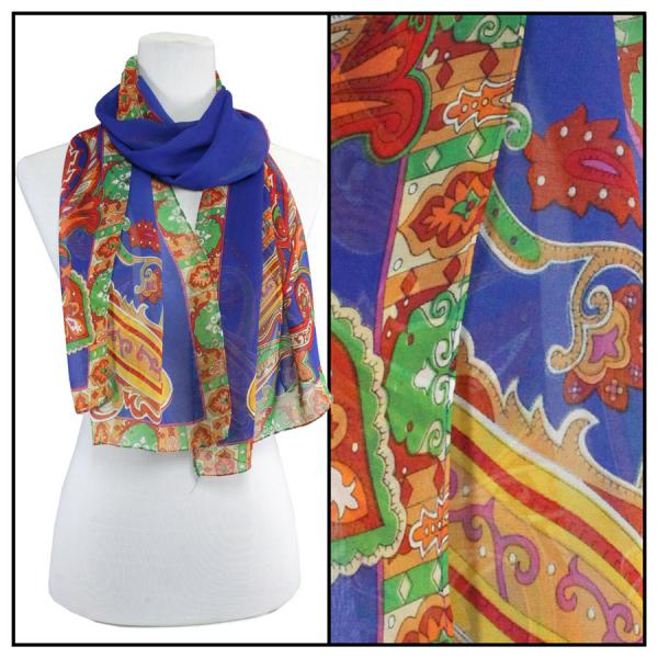 Silky Dress Scarves Paisley Serpentine - Royal -