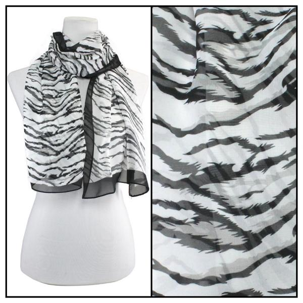 Silky Dress Scarves Tiger Print - Black -