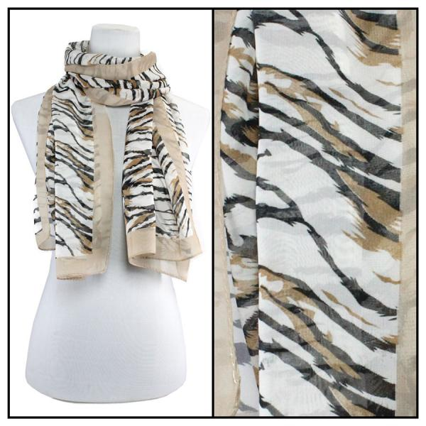 Silky Dress Scarves Tiger Print - Tan -