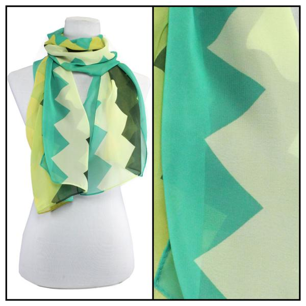 Silky Dress Scarves Zig Zag 2 - Teal Green -
