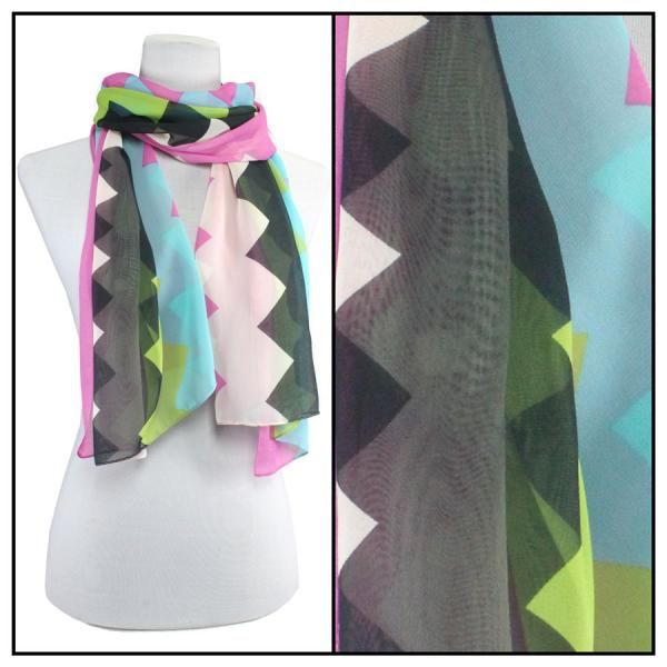 Silky Dress Scarves Zig Zag 2 - Fuchsia MB -