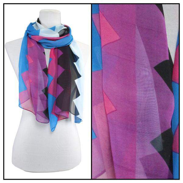 Silky Dress Scarves Zig Zag 2 - Blue -