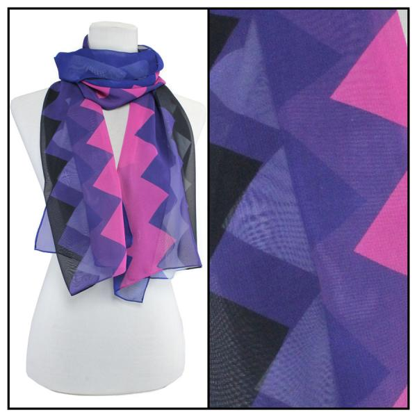 Silky Dress Scarves Zig Zag 2 - Royal -