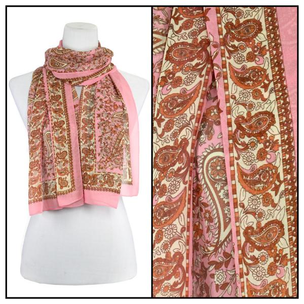 Silky Dress Scarves Paisley - Pink -