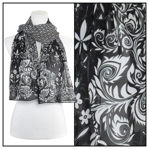 Silky Dress Scarves Peacock Abstract - Black-White -