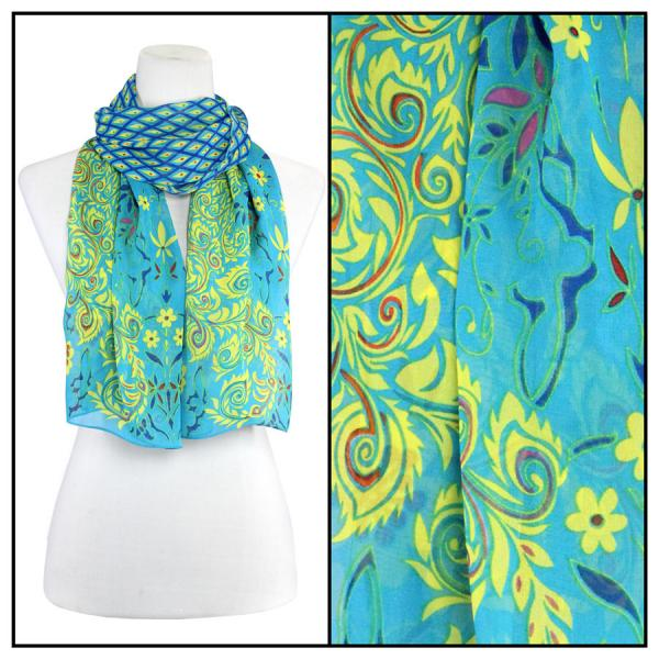 Silky Dress Scarves Peacock Abstract - Turquoise -
