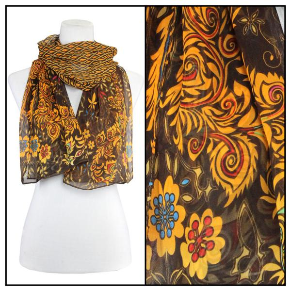 Silky Dress Scarves Peacock Abstract - Brown -