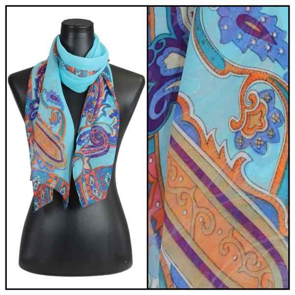Silky Dress Scarves Paisley Serpentine - Turquoise -
