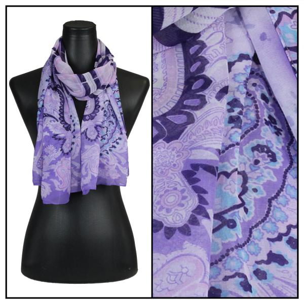 Silky Dress Scarves Paisley Plaid - Purple -