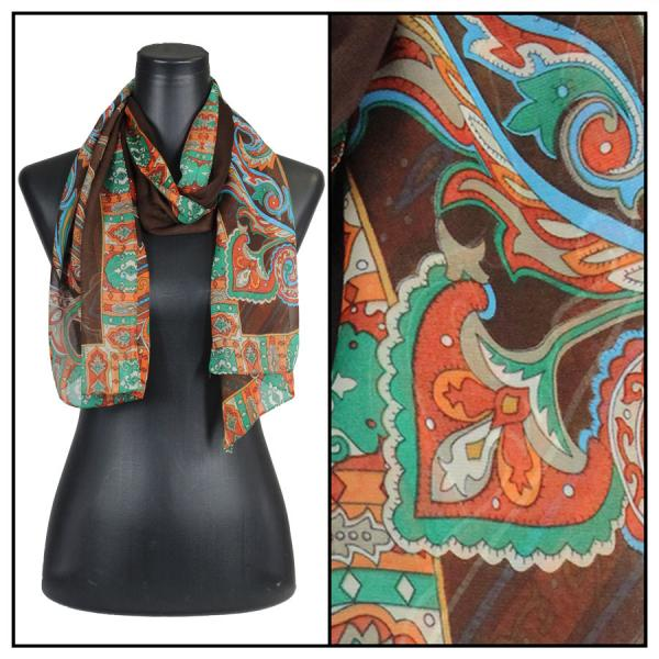 Silky Dress Scarves Paisley Serpentine - Brown -