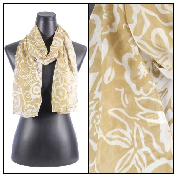 Silky Dress Scarves N115 Tan-White -