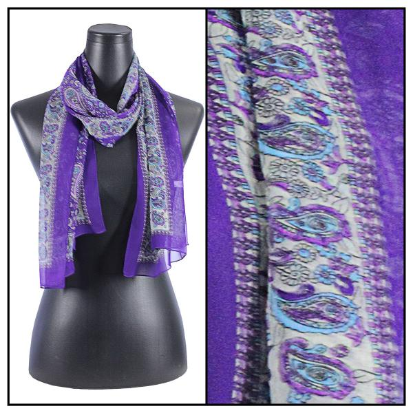 Silky Dress Scarves Paisley - Purple -