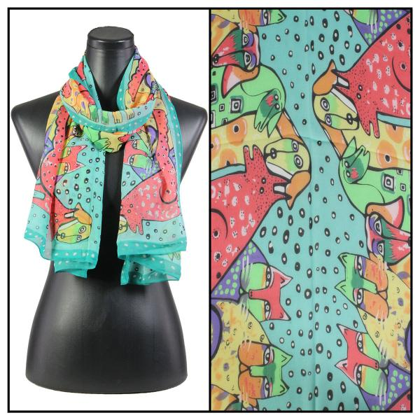 Silky Dress Scarves Cats & Dogs - Teal -