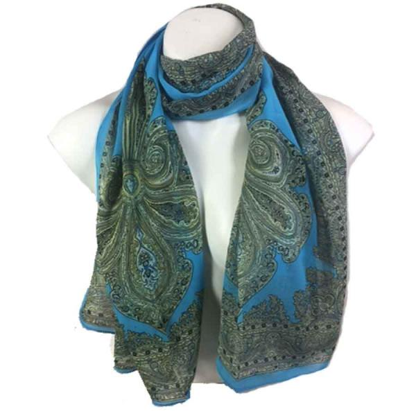 Silky Dress Scarves Paisley Border - Turquoise -