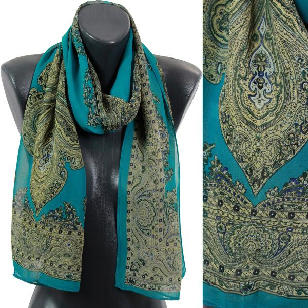Silky Dress Scarves Paisley Border - Jade -