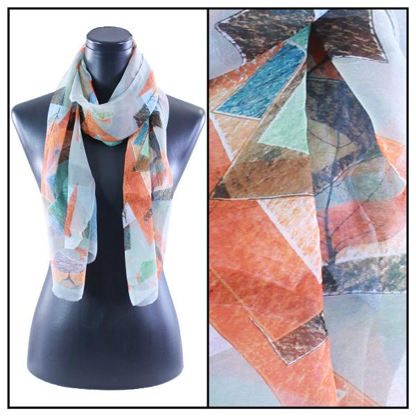 Silky Dress Scarves Abstract Oak Leaf - Grey MB -