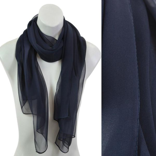 Silky Dress Scarves Solid Navy S23 -
