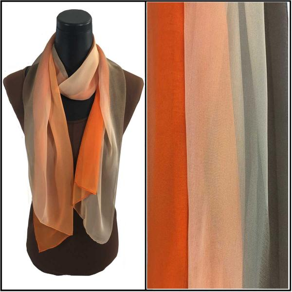 Silky Dress Scarves Tri-Color - Brown-Beige-Orange TC17 -