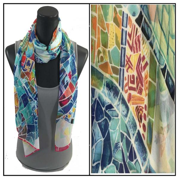 Silky Dress Scarves Stained Glass - White -