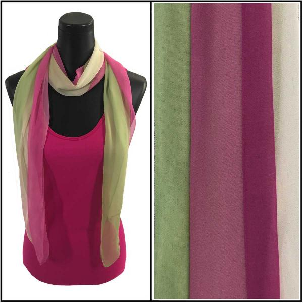 Silky Dress Scarves Tri-Color - Magenta-Ivory-Sage TC18 -