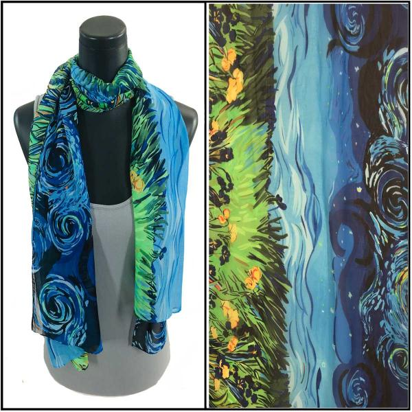 Silky Dress Scarves Starry Night - Blue -