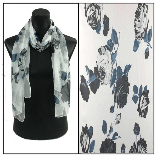Silky Dress Scarves 035 - White MB -