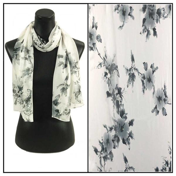 Silky Dress Scarves 037 - White MB -