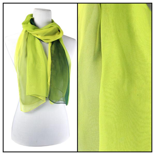 Silky Dress Scarves Tri-Color - Greens TC06 -