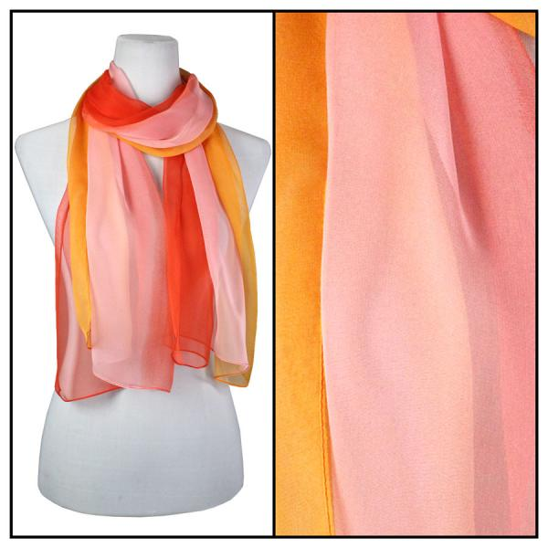 Silky Dress Scarves Tri-Color - Red-Pink-Orange TC14 -