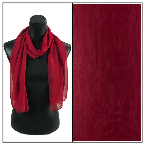 Silky Dress Scarves Solid Burgundy S24 -