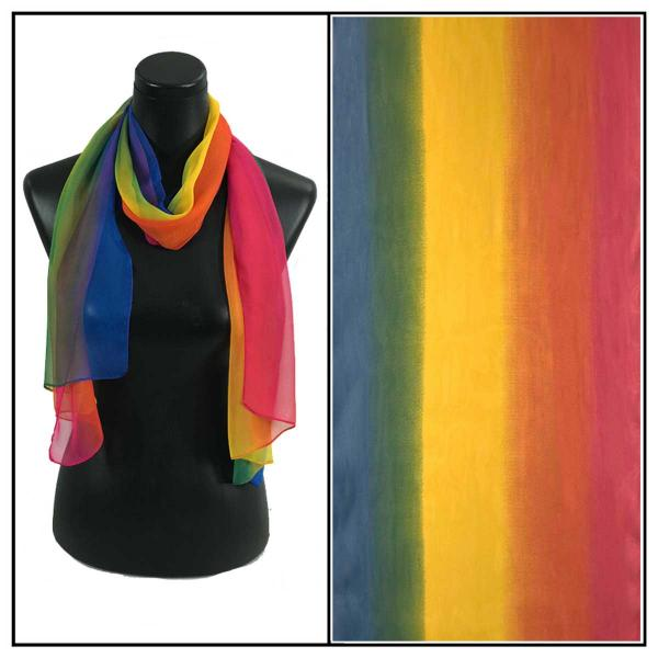 Silky Dress Scarves Tri-Color - Rainbow TC19 -
