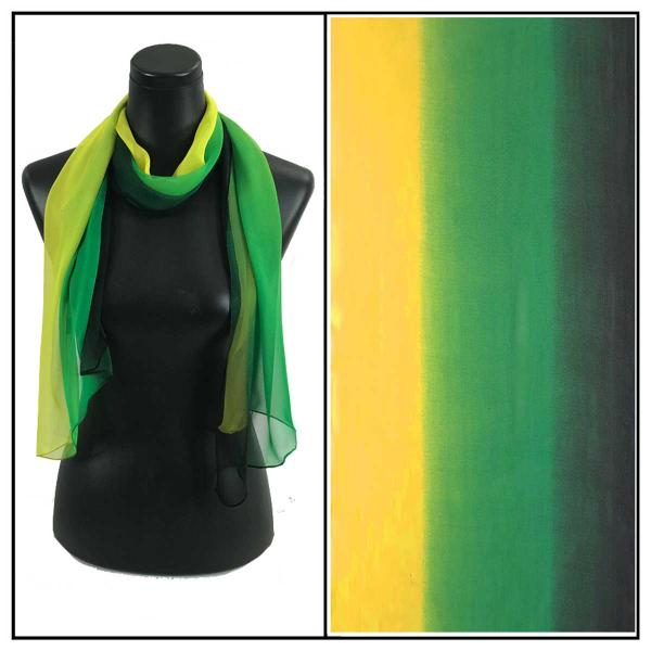 Silky Dress Scarves Tri-Color - Black-Green-Yellow TC21 -
