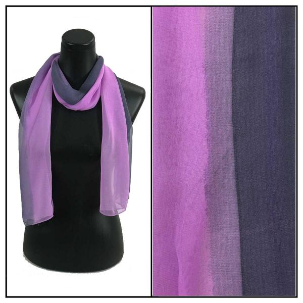 Silky Dress Scarves Tri-Color - Purples TC22 -