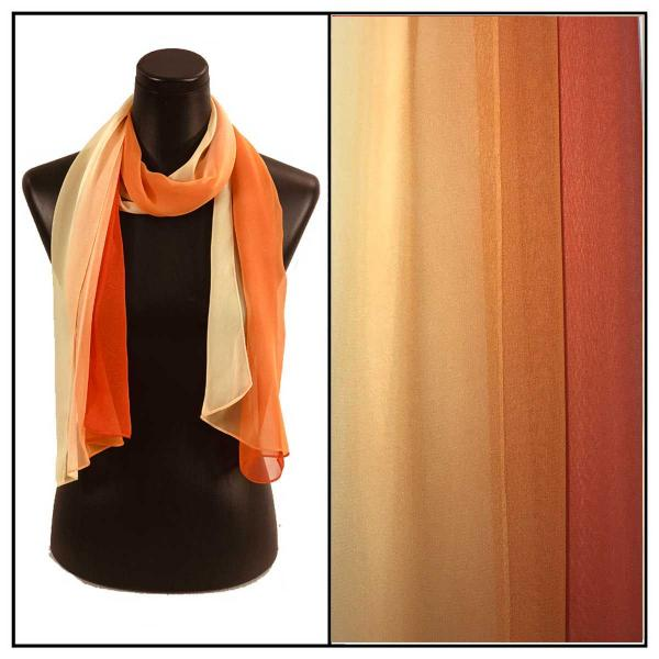 Silky Dress Scarves Tri-Color - Oranges TC23 -