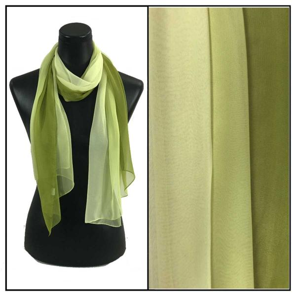 Silky Dress Scarves Tri-Color - Avocado-Sage-Cream TC25 -