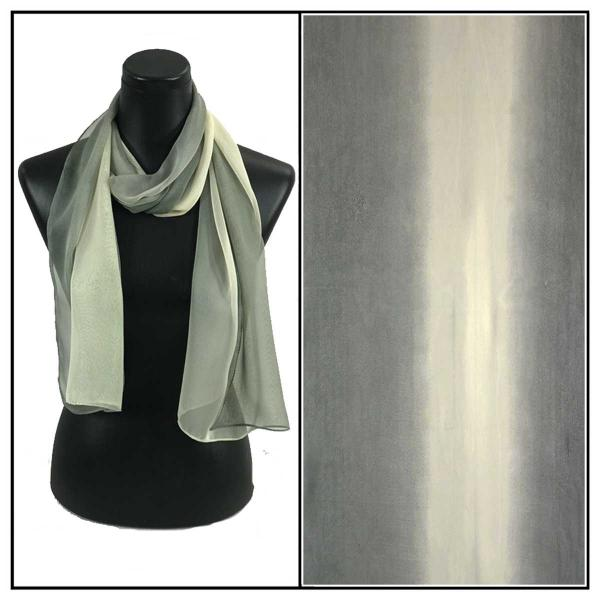 Silky Dress Scarves Tri-Color - Charcoal-Beige-Grey TC27 -