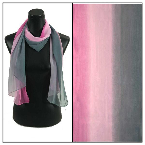Silky Dress Scarves Tri-Color - Grey-Pink-Orchid TC28 -