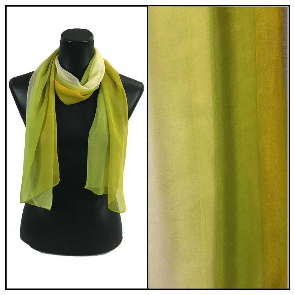 Silky Dress Scarves Tri-Color - Lime-Gold-Ivory TC29 -