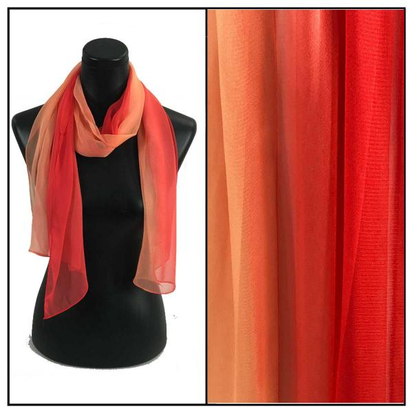 Silky Dress Scarves Tri-Color - Corals TC31 -