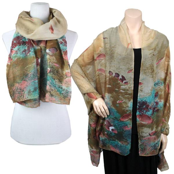 wholesale Big Scarves/Shawls - Fish 976* Brown -
