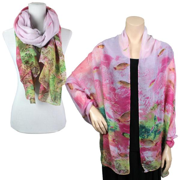 wholesale Big Scarves/Shawls - Fish 976* Fuchsia -