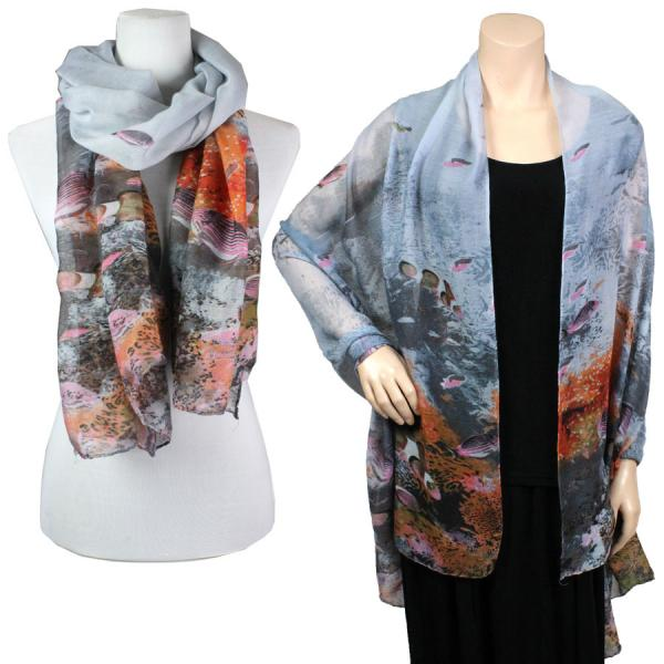 wholesale Big Scarves/Shawls - Fish 976* Grey -
